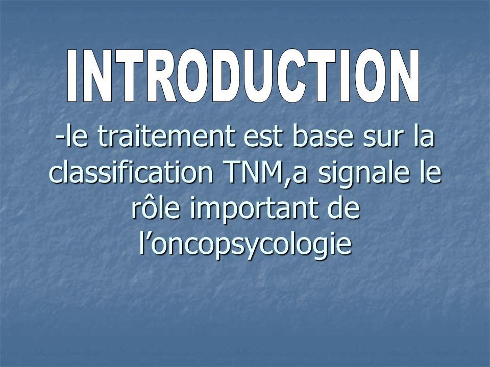 -le traitement est base sur la classification TNM,a signale le rôle important de loncopsycologie
