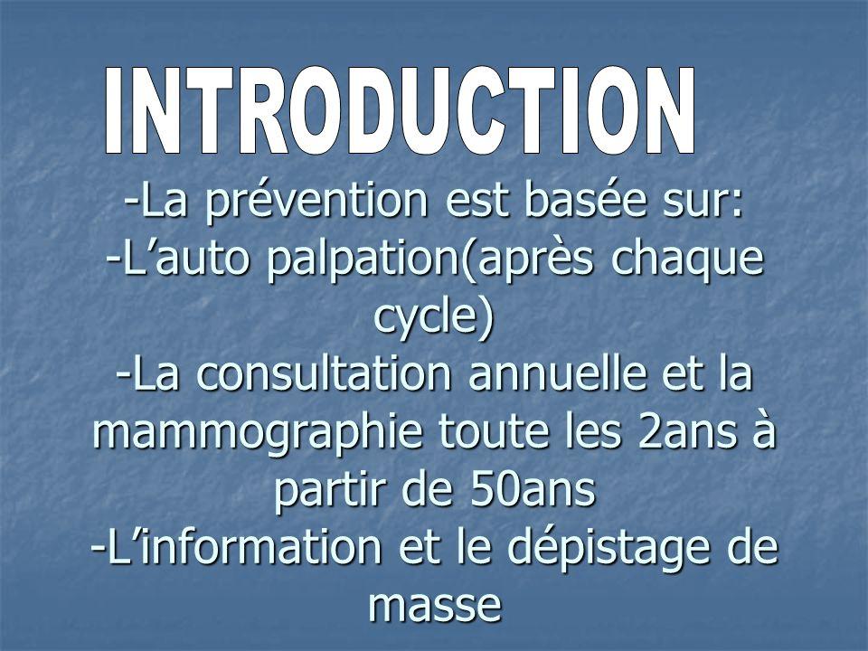 -La prévention est basée sur: -Lauto palpation(après chaque cycle) -La consultation annuelle et la mammographie toute les 2ans à partir de 50ans -Linf