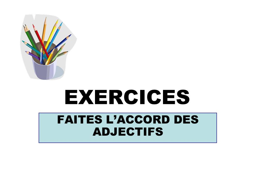 EXERCICES FAITES LACCORD DES ADJECTIFS