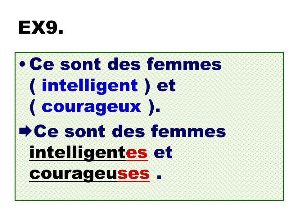 EX9. Ce sont des femmes ( intelligent ) et ( courageux ).