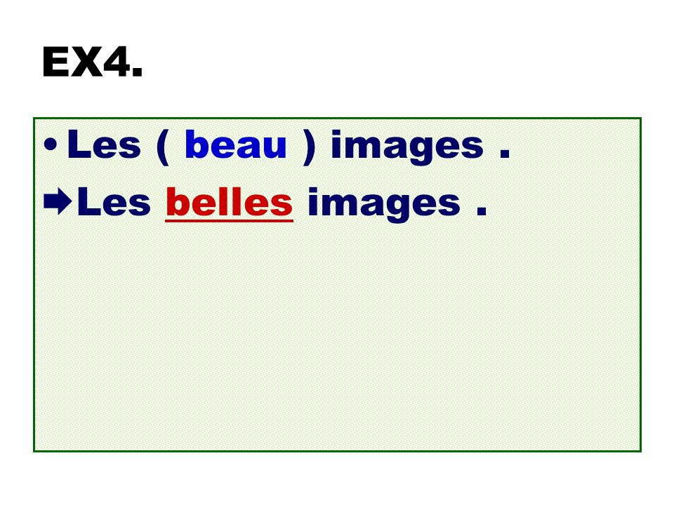 EX4. Les ( beau ) images. Les belles images.