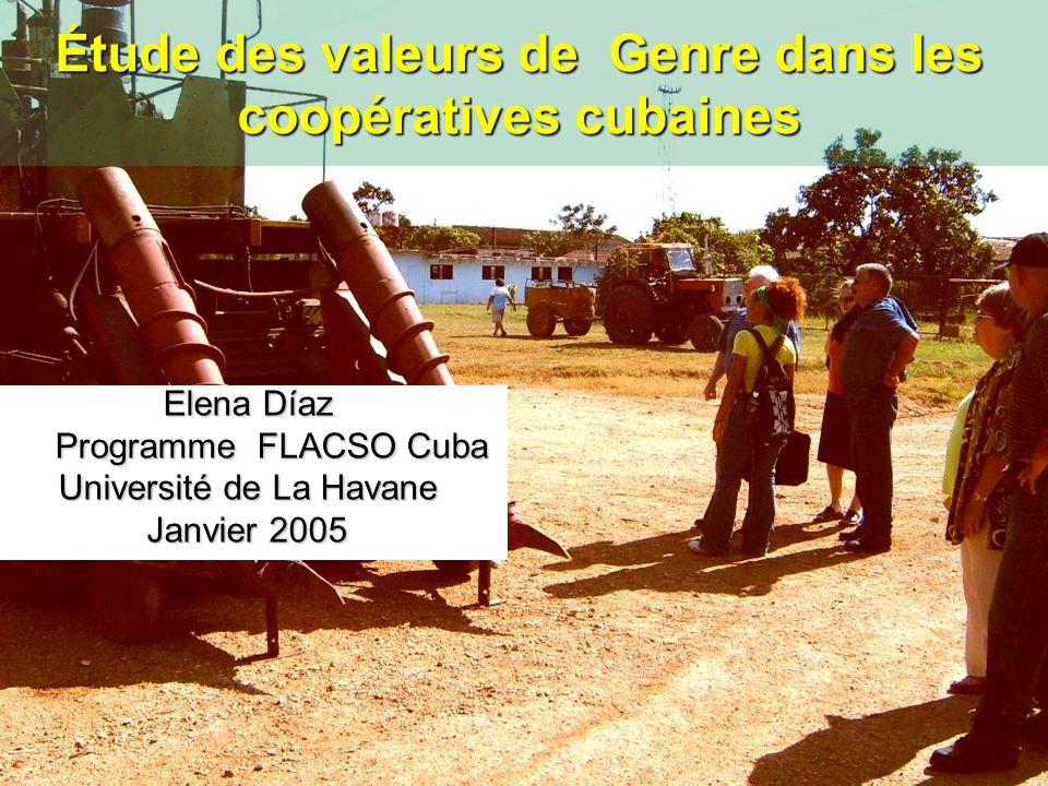 Étude des valeurs de Genre dans les coopératives cubaines Elena Díaz Programme FLACSO Cuba Programme FLACSO Cuba Université de La Havane Janvier 2005