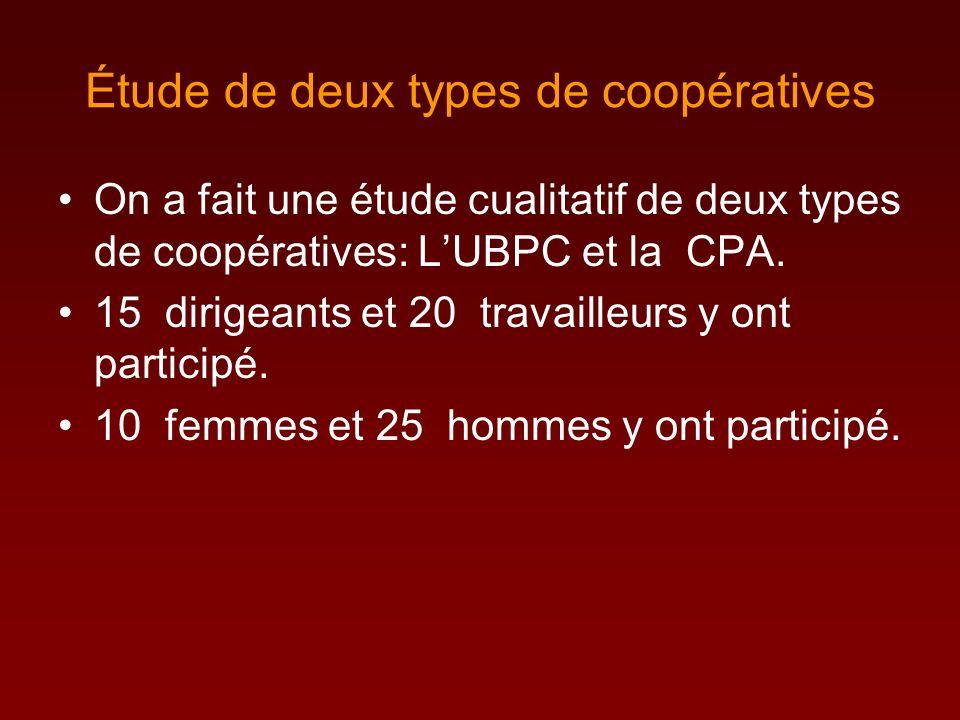 Étude de deux types de coopératives On a fait une étude cualitatif de deux types de coopératives: LUBPC et la CPA.