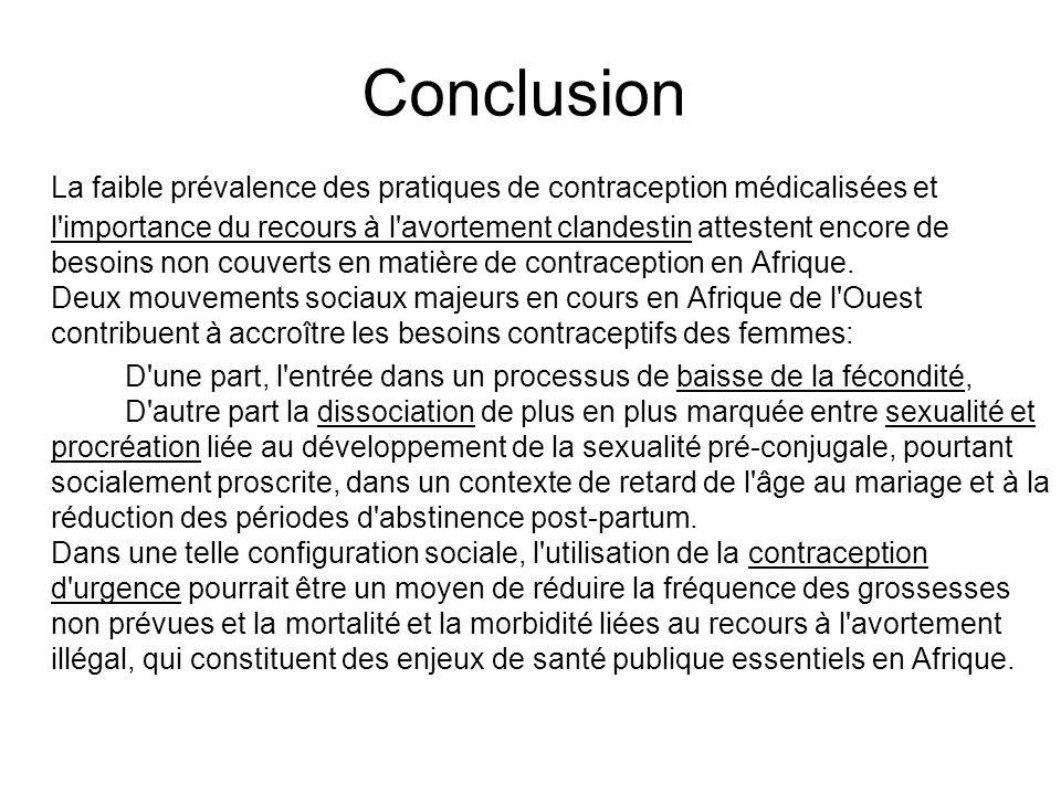 Conclusion La faible prévalence des pratiques de contraception médicalisées et l'importance du recours à l'avortement clandestin attestent encore de b