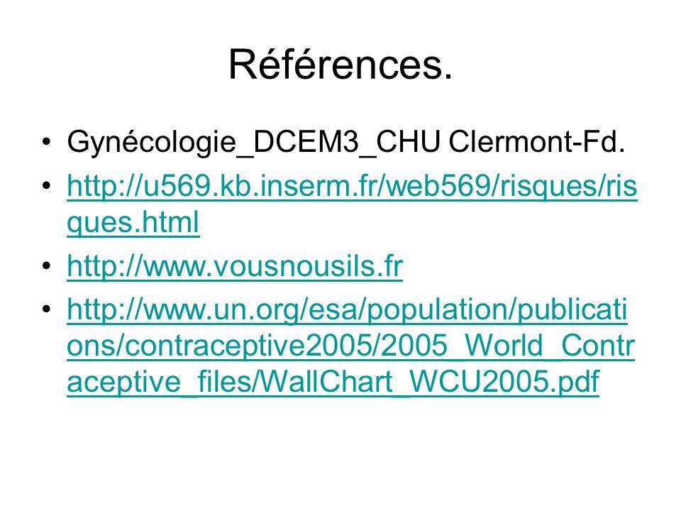 Références. Gynécologie_DCEM3_CHU Clermont-Fd. http://u569.kb.inserm.fr/web569/risques/ris ques.htmlhttp://u569.kb.inserm.fr/web569/risques/ris ques.h