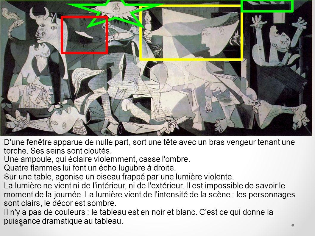 On peut diviser le tableau en trois pans : 1/ le taureau et la femme à gauche, 2/ le cheval et l apparition au centre, 3/ la femme torche à droite.