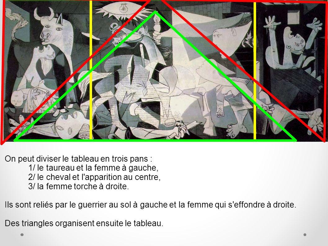 On peut diviser le tableau en trois pans : 1/ le taureau et la femme à gauche, 2/ le cheval et l'apparition au centre, 3/ la femme torche à droite. Il