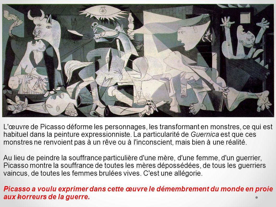 L'œuvre de Picasso déforme les personnages, les transformant en monstres, ce qui est habituel dans la peinture expressionniste. La particularité de Gu