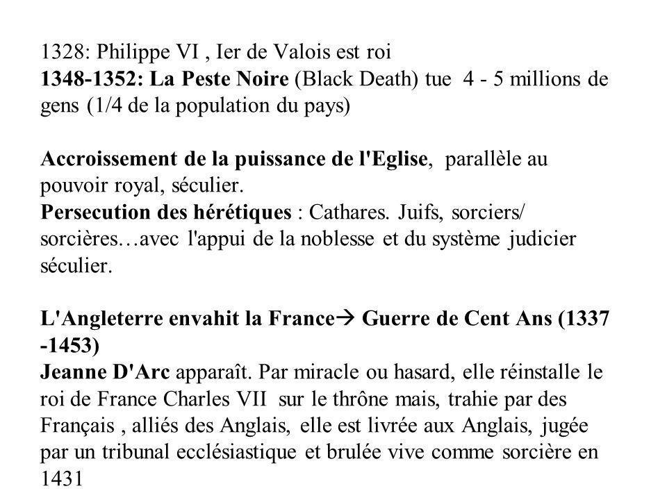 1328: Philippe VI, Ier de Valois est roi 1348-1352: La Peste Noire (Black Death) tue 4 - 5 millions de gens (1/4 de la population du pays) Accroisseme