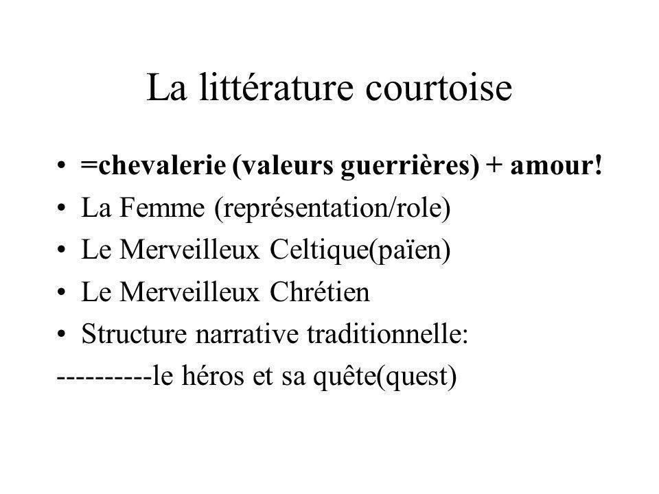 La littérature courtoise =chevalerie (valeurs guerrières) + amour! La Femme (représentation/role) Le Merveilleux Celtique(païen) Le Merveilleux Chréti