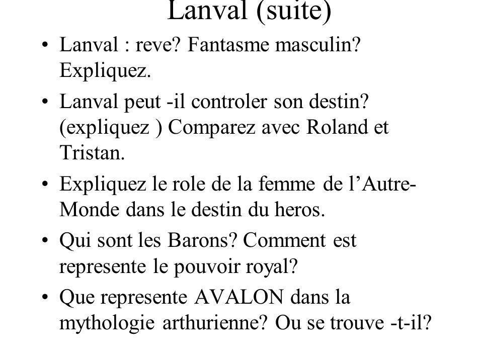 Lanval (suite) Lanval : reve? Fantasme masculin? Expliquez. Lanval peut -il controler son destin? (expliquez ) Comparez avec Roland et Tristan. Expliq