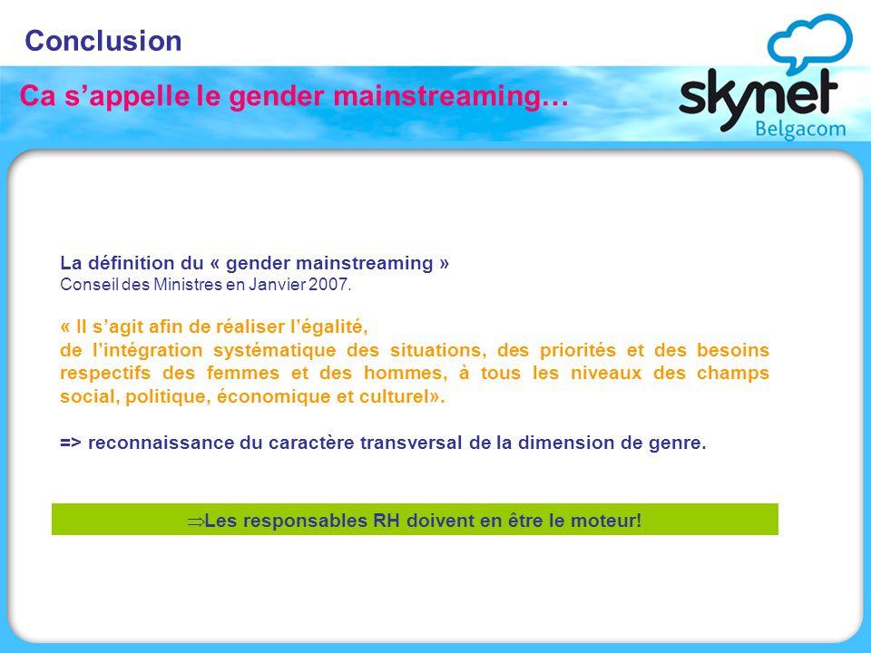 Conclusion La définition du « gender mainstreaming » Conseil des Ministres en Janvier 2007. « Il sagit afin de réaliser légalité, de lintégration syst