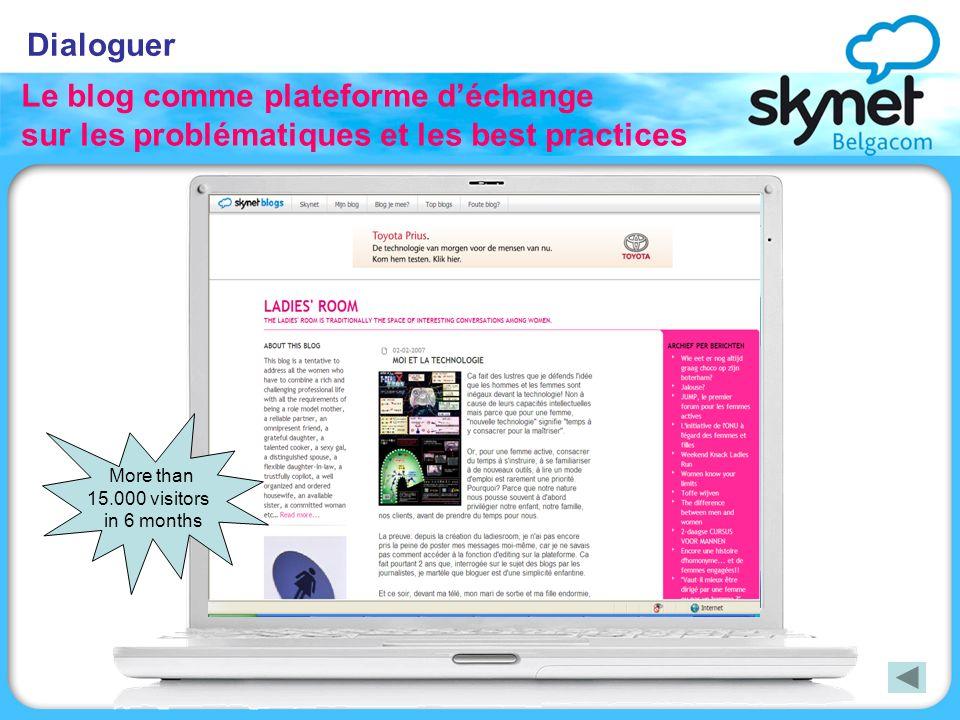 Dialoguer Le blog comme plateforme déchange sur les problématiques et les best practices More than 15.000 visitors in 6 months