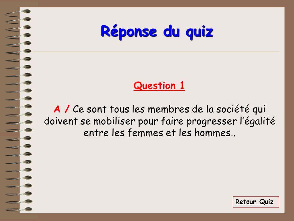Réponse du quiz Question 1 A / Ce sont tous les membres de la société qui doivent se mobiliser pour faire progresser légalité entre les femmes et les