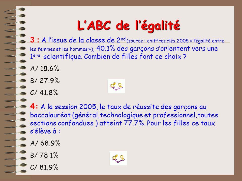 3 : A lissue de la classe de 2 nd (source : chiffres clés 2005 « légalité entre les femmes et les hommes »), 40.1% des garçons sorientent vers une 1 è