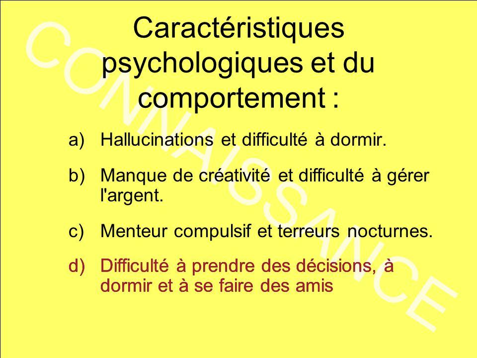 CONNAISSANCE Caractéristiques psychologiques et du comportement : b)Manque de créativité et difficulté à gérer l'argent. c)Menteur compulsif et terreu