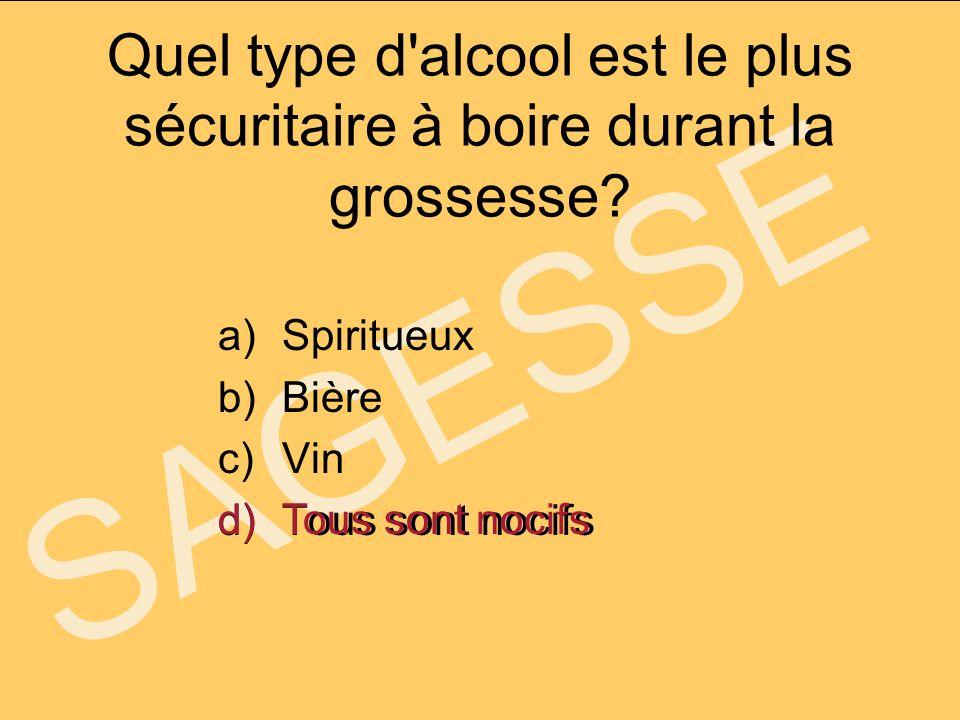 SAGESSE Quel type d'alcool est le plus sécuritaire à boire durant la grossesse? a)Spiritueux b)Bière c)Vin d)Tous sont nocifs