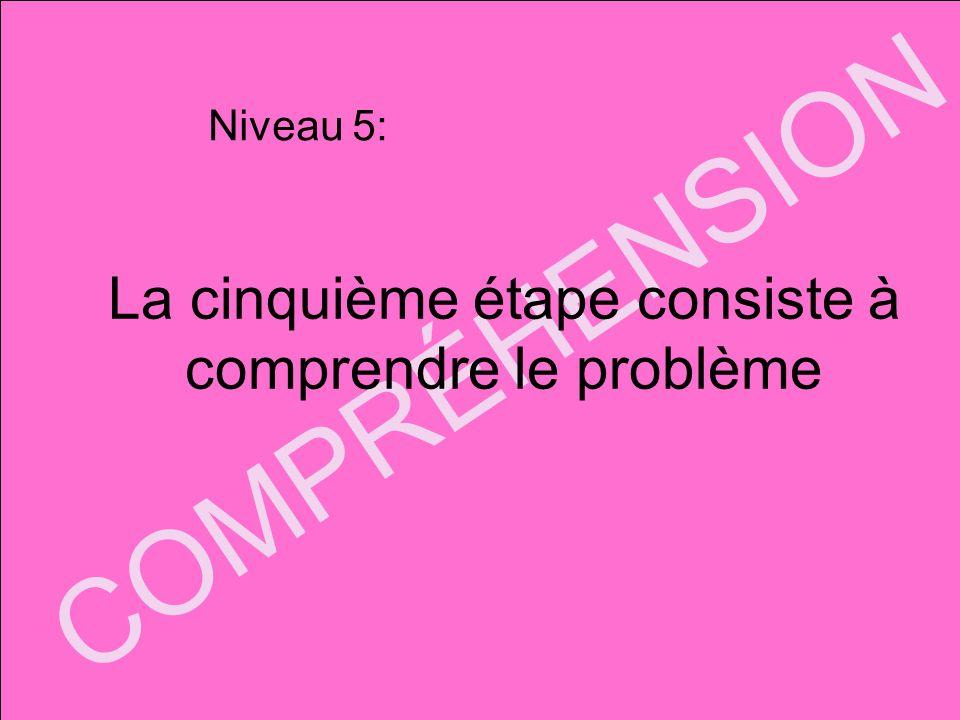 COMPRÉHENSION La cinquième étape consiste à comprendre le problème Niveau 5: