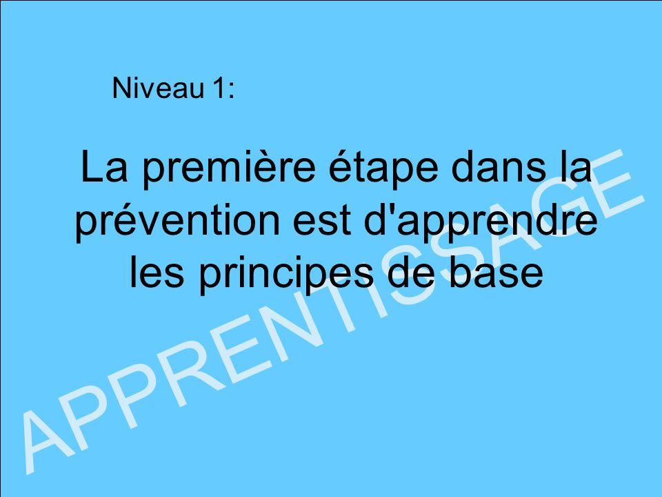 Niveau 1: APPRENTISSAGE La première étape dans la prévention est d'apprendre les principes de base