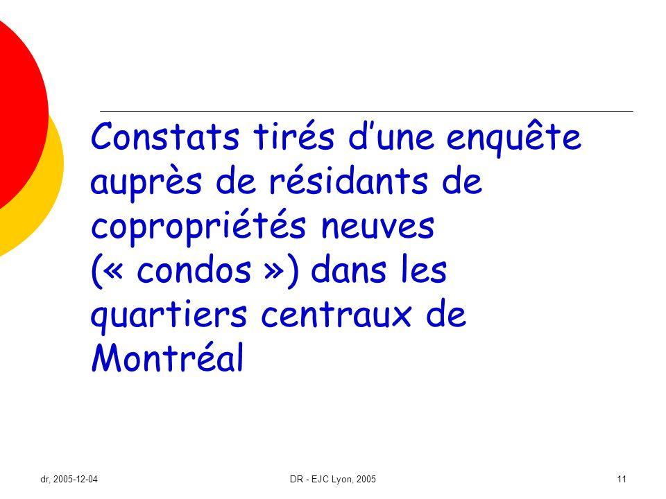 dr, 2005-12-04DR - EJC Lyon, 200511 Constats tirés dune enquête auprès de résidants de copropriétés neuves (« condos ») dans les quartiers centraux de