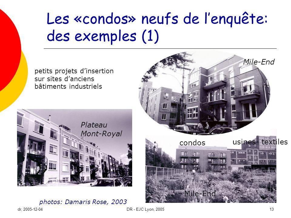 dr, 2005-12-04DR - EJC Lyon, 200513 Les «condos» neufs de lenquête: des exemples (1) photos: Damaris Rose, 2003 Plateau Mont-Royal Mile-End condos usi