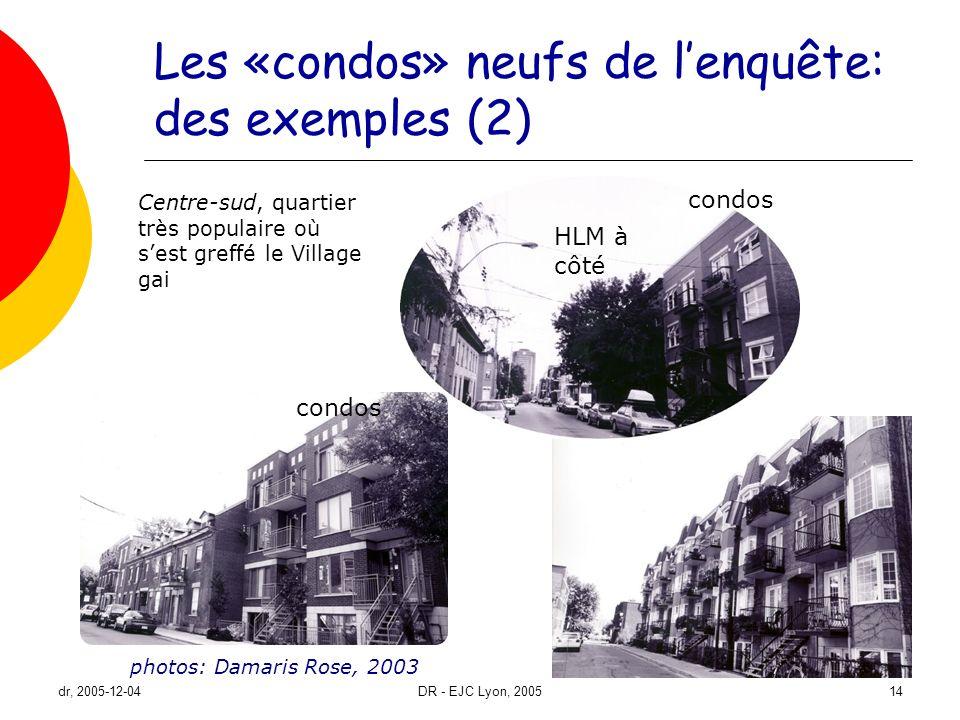dr, 2005-12-04DR - EJC Lyon, 200514 Les «condos» neufs de lenquête: des exemples (2) photos: Damaris Rose, 2003 Centre-sud, quartier très populaire où
