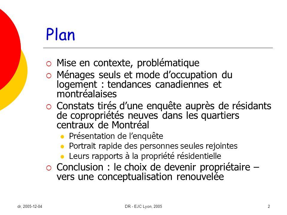 dr, 2005-12-04DR - EJC Lyon, 20052 Plan Mise en contexte, problématique Ménages seuls et mode doccupation du logement : tendances canadiennes et montr