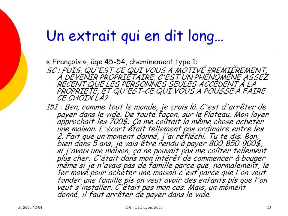 dr, 2005-12-04DR - EJC Lyon, 200523 Un extrait qui en dit long… « François », âge 45-54, cheminement type 1: SC : PUIS, QU'EST-CE QUI VOUS A MOTIVÉ PR