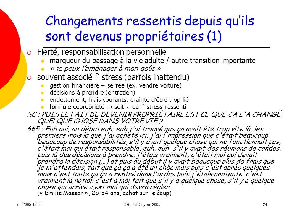 dr, 2005-12-04DR - EJC Lyon, 200524 Changements ressentis depuis quils sont devenus propriétaires (1) Fierté, responsabilisation personnelle marqueur