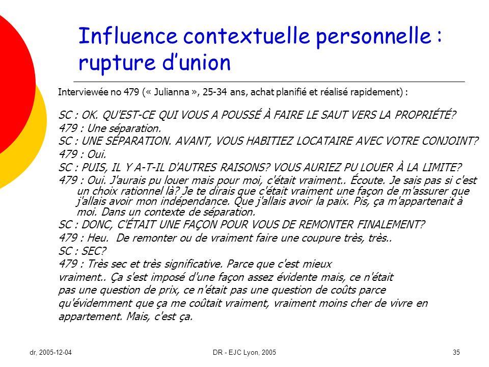 dr, 2005-12-04DR - EJC Lyon, 200535 Influence contextuelle personnelle : rupture dunion Interviewée no 479 (« Julianna », 25-34 ans, achat planifié et