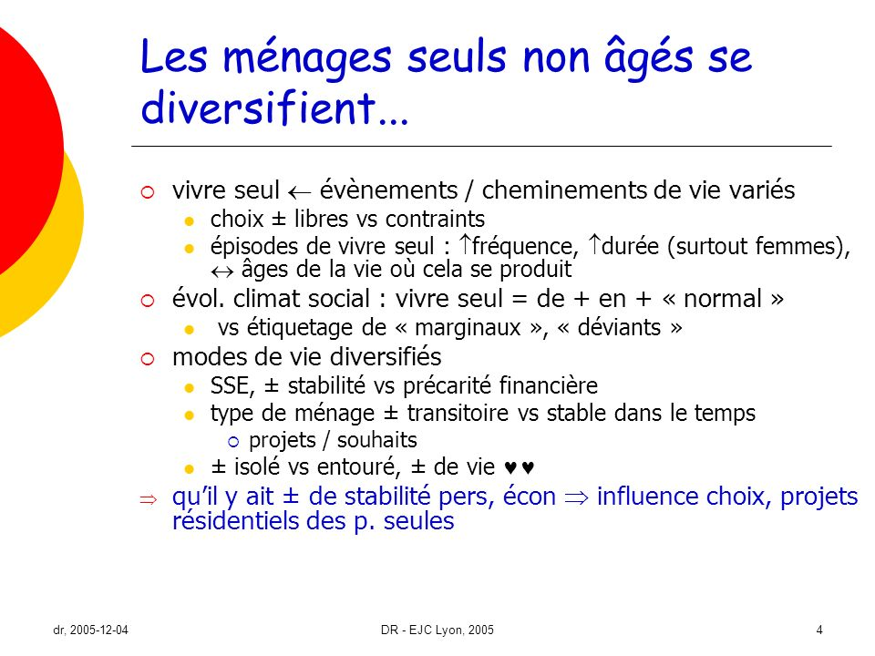 dr, 2005-12-04DR - EJC Lyon, 20054 Les ménages seuls non âgés se diversifient... vivre seul évènements / cheminements de vie variés choix ± libres vs
