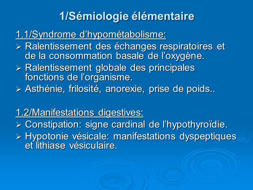 1/Sémiologie élémentaire 1.1/Syndrome dhypométabolisme: Ralentissement des échanges respiratoires et de la consommation basale de loxygène. Ralentisse