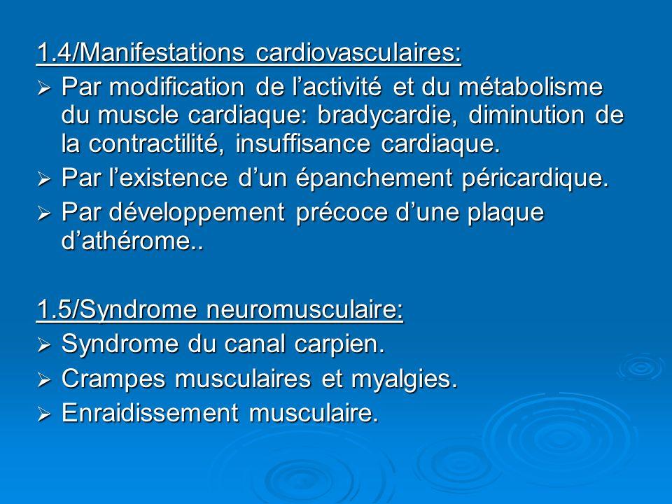 1.4/Manifestations cardiovasculaires: Par modification de lactivité et du métabolisme du muscle cardiaque: bradycardie, diminution de la contractilité