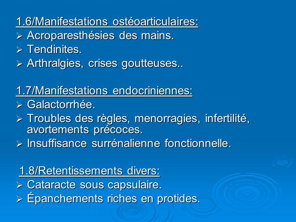 1.6/Manifestations ostéoarticulaires: Acroparesthésies des mains. Acroparesthésies des mains. Tendinites. Tendinites. Arthralgies, crises goutteuses..