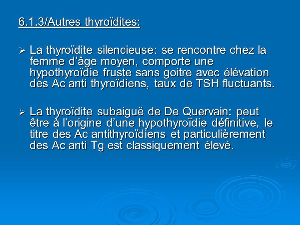 6.1.3/Autres thyroïdites: La thyroïdite silencieuse: se rencontre chez la femme dâge moyen, comporte une hypothyroïdie fruste sans goitre avec élévati