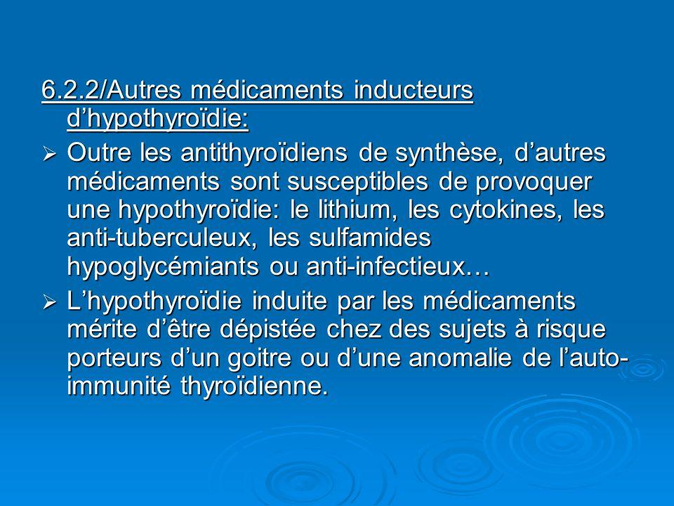 6.2.2/Autres médicaments inducteurs dhypothyroïdie: Outre les antithyroïdiens de synthèse, dautres médicaments sont susceptibles de provoquer une hypo