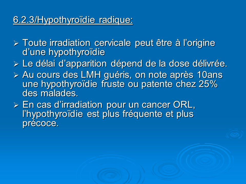 6.2.3/Hypothyroïdie radique: Toute irradiation cervicale peut être à lorigine dune hypothyroïdie Toute irradiation cervicale peut être à lorigine dune