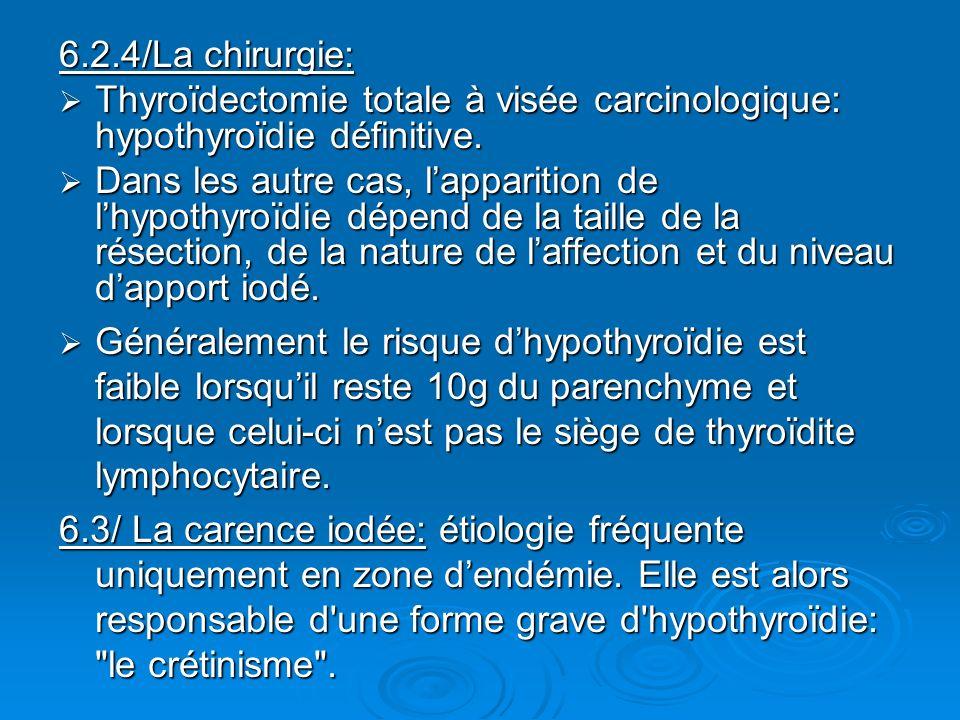 6.2.4/La chirurgie: Thyroïdectomie totale à visée carcinologique: hypothyroïdie définitive. Thyroïdectomie totale à visée carcinologique: hypothyroïdi