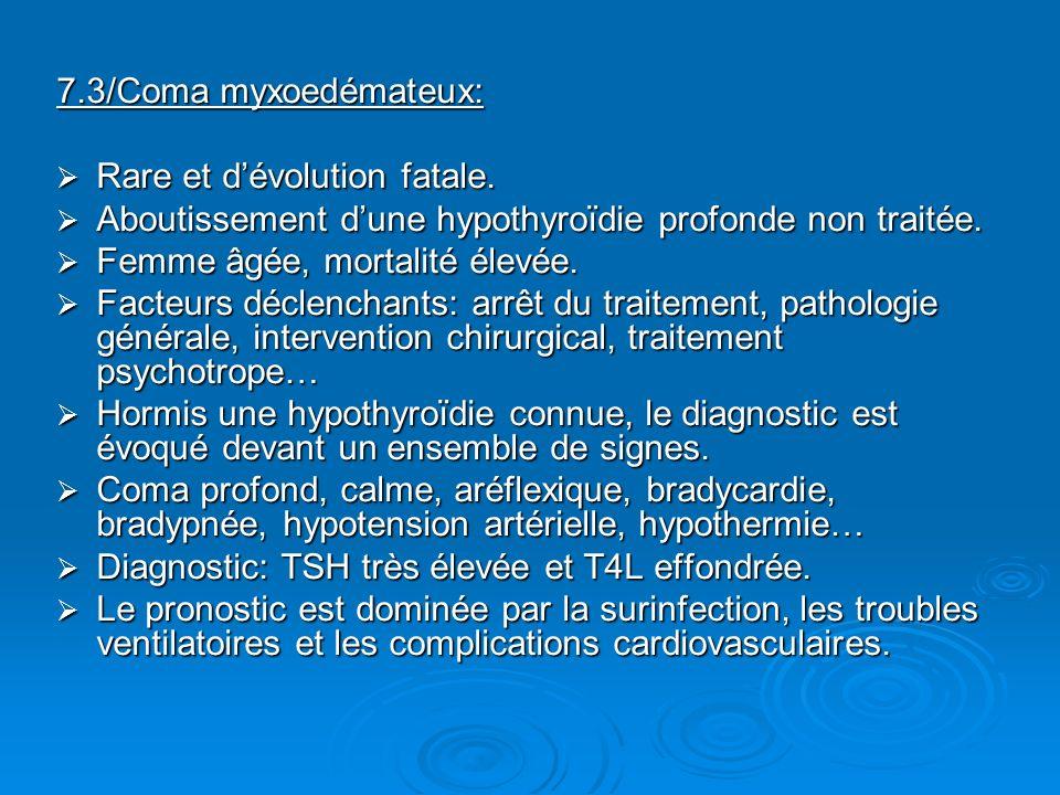 7.3/Coma myxoedémateux: Rare et dévolution fatale. Rare et dévolution fatale. Aboutissement dune hypothyroïdie profonde non traitée. Aboutissement dun