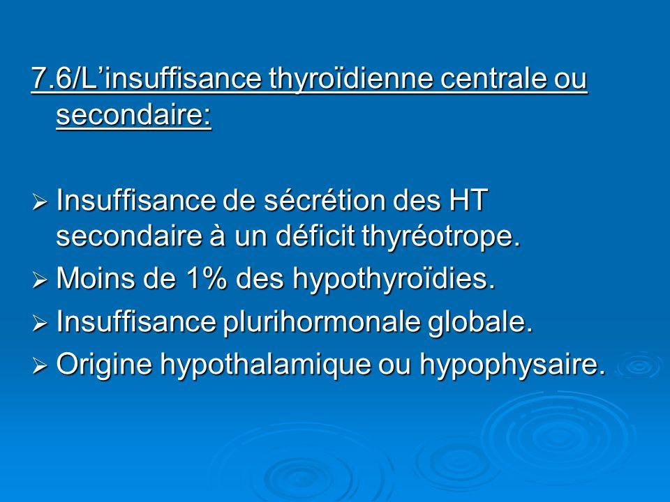 7.6/Linsuffisance thyroïdienne centrale ou secondaire: Insuffisance de sécrétion des HT secondaire à un déficit thyréotrope. Insuffisance de sécrétion