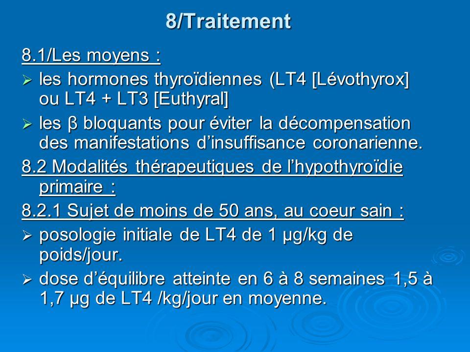 8/Traitement 8.1/Les moyens : les hormones thyroïdiennes (LT4 [Lévothyrox] ou LT4 + LT3 [Euthyral] les hormones thyroïdiennes (LT4 [Lévothyrox] ou LT4