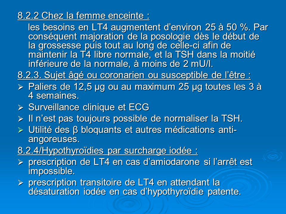 8.2.2 Chez la femme enceinte : les besoins en LT4 augmentent denviron 25 à 50 %. Par conséquent majoration de la posologie dès le début de la grossess