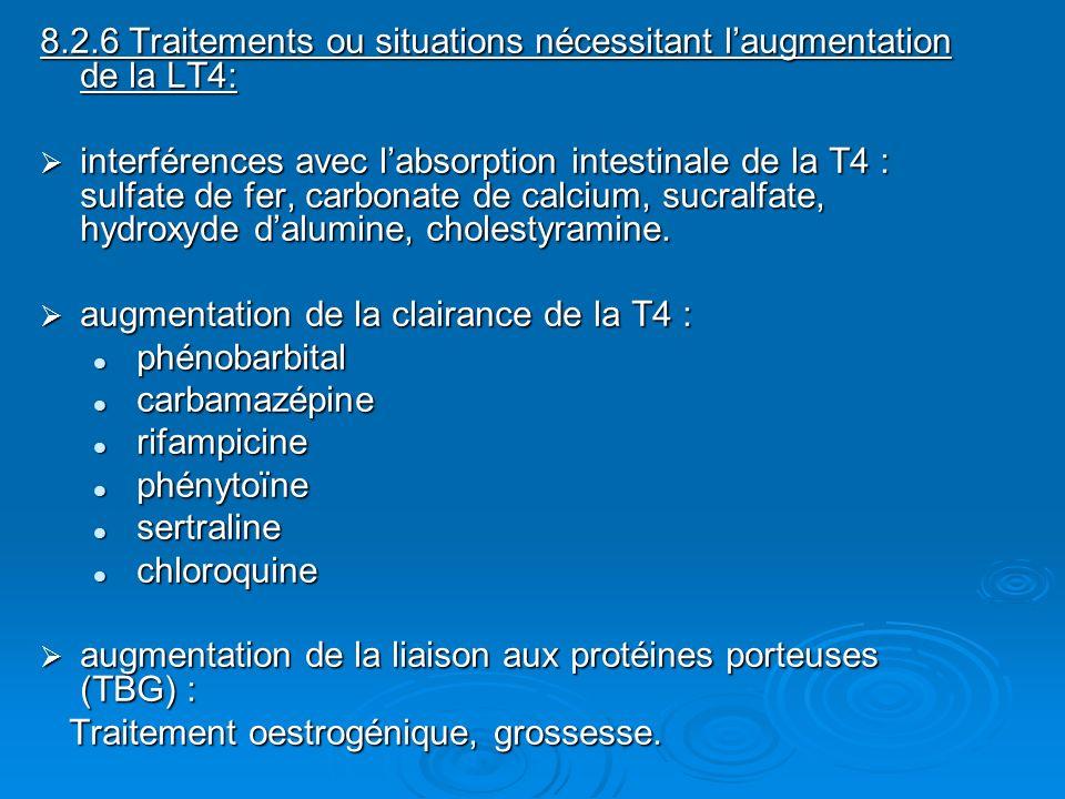 8.2.6 Traitements ou situations nécessitant laugmentation de la LT4: interférences avec labsorption intestinale de la T4 : sulfate de fer, carbonate d