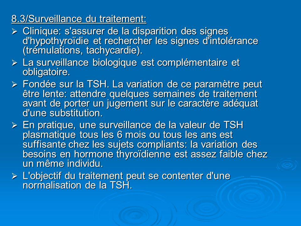 8.3/Surveillance du traitement: Clinique: s'assurer de la disparition des signes d'hypothyroïdie et rechercher les signes d'intolérance (trémulations,