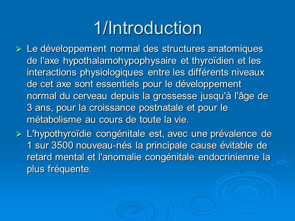 1/Introduction Le développement normal des structures anatomiques de l'axe hypothalamohypophysaire et thyroïdien et les interactions physiologiques en