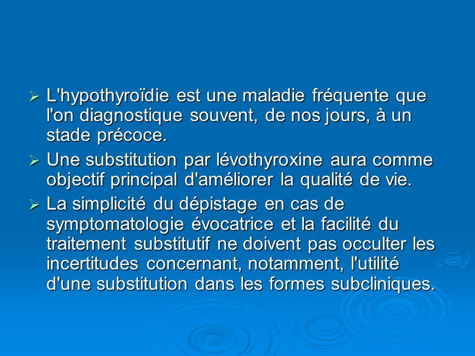L'hypothyroïdie est une maladie fréquente que l'on diagnostique souvent, de nos jours, à un stade précoce. L'hypothyroïdie est une maladie fréquente q