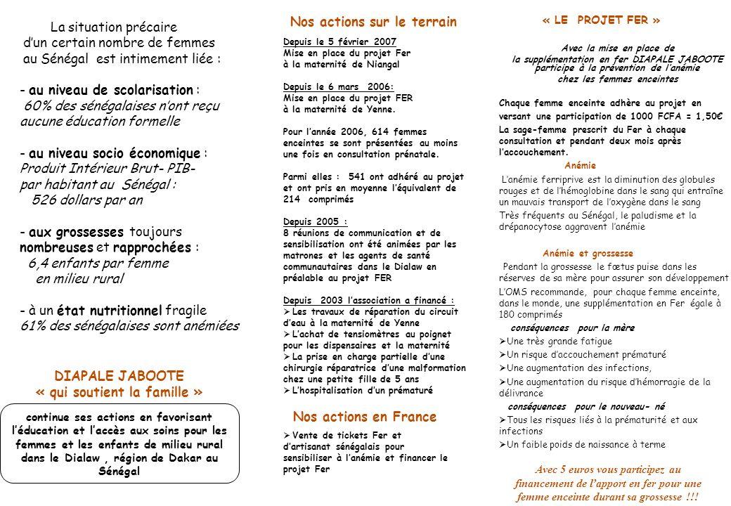 DIAPALE JABOOTE « qui soutient la famille » Avec la mise en place de la supplémentation en fer DIAPALE JABOOTE participe à la prévention de lanémie chez les femmes enceintes Chaque femme enceinte adhère au projet en versant une participation de 1000 FCFA = 1,50 La sage-femme prescrit du Fer à chaque consultation et pendant deux mois après laccouchement.