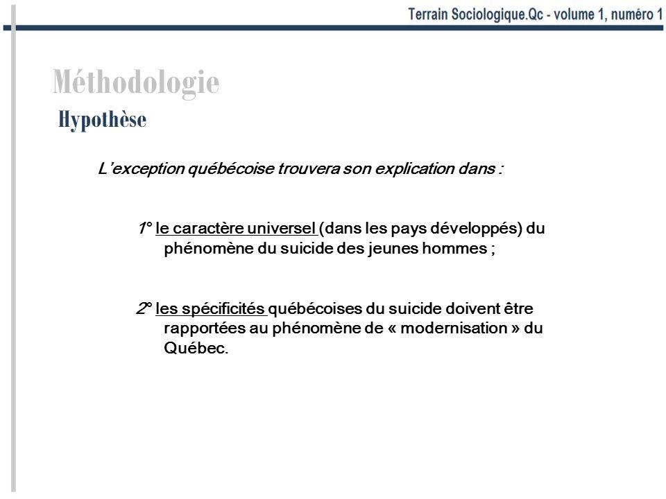 Méthodologie Hypothèse Lexception québécoise trouvera son explication dans : 1° le caractère universel (dans les pays développés) du phénomène du suic