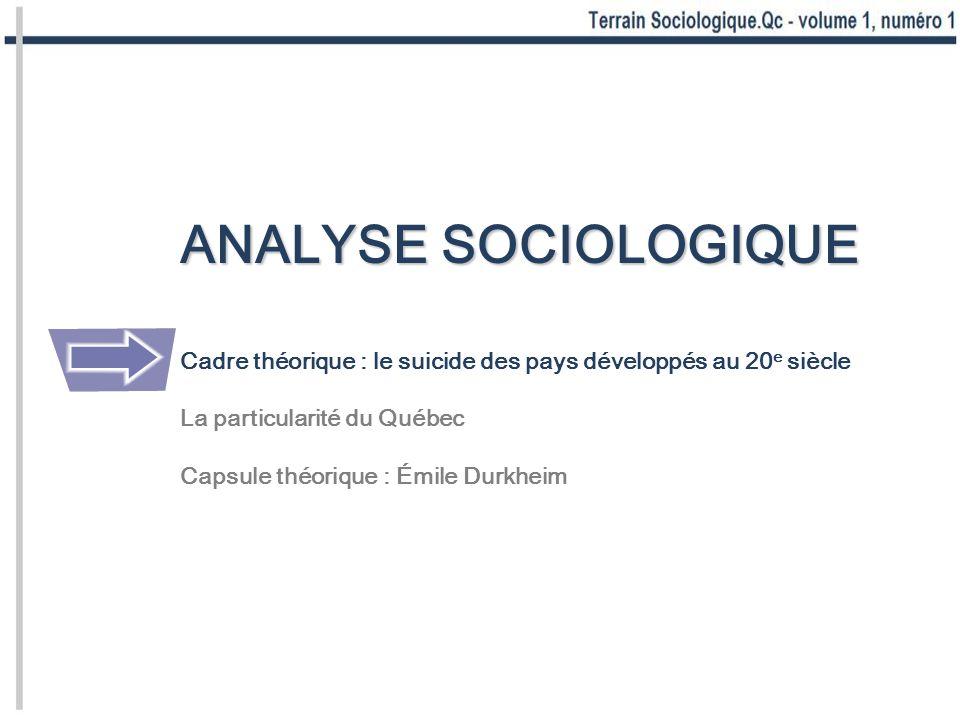 ANALYSE SOCIOLOGIQUE Cadre théorique : le suicide des pays développés au 20 e siècle La particularité du Québec Capsule théorique : Émile Durkheim