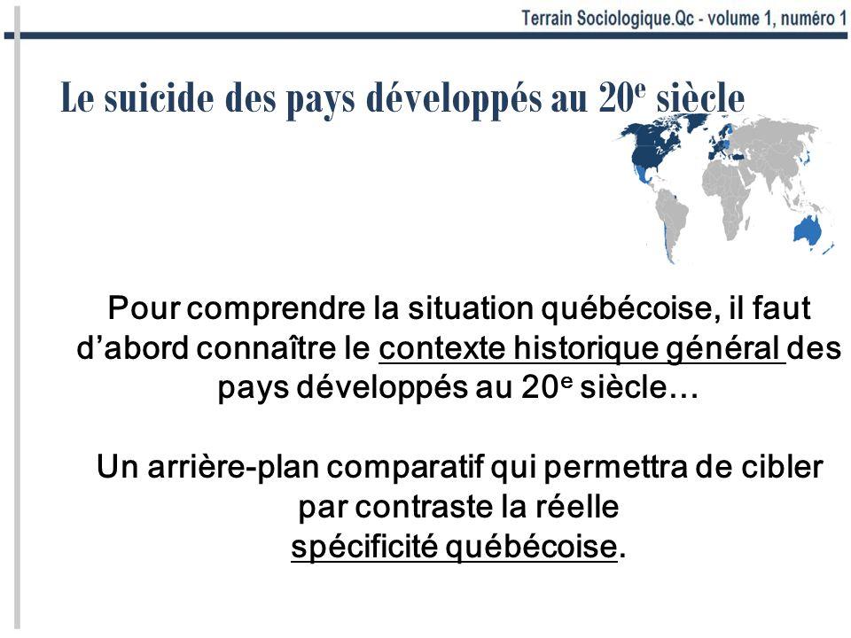 Le suicide des pays développés au 20 e siècle Pour comprendre la situation québécoise, il faut dabord connaître le contexte historique général des pay